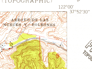 Reduced fragment of topographic map en--usgs--024k--025013--(1947)--N037-52-30_W122-07-30--N037-45-00_W122-00-00 in area of Upper San Leandro Reservoir; towns and cities Moraga Town