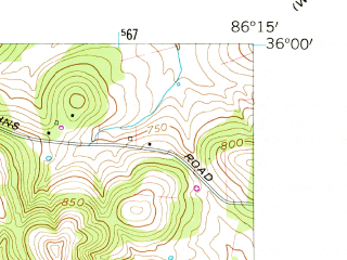 Reduced fragment of topographic map en--usgs--024k--025028--(1957)--N036-00-00_W086-22-30--N035-52-30_W086-15-00