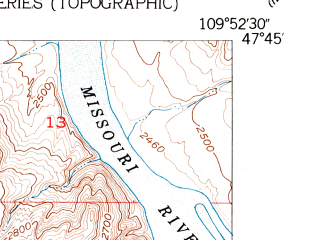 Reduced fragment of topographic map en--usgs--024k--025037--(1953)--N047-45-00_W110-00-00--N047-37-30_W109-52-30