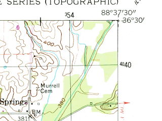 Reduced fragment of topographic map en--usgs--024k--025057--(1956)--N036-30-00_W088-45-00--N036-22-30_W088-37-30