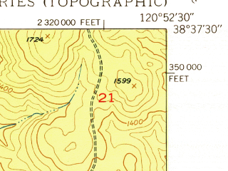 Reduced fragment of topographic map en--usgs--024k--025069--(1950)--N038-37-30_W121-00-00--N038-30-00_W120-52-30