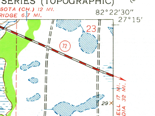 Reduced fragment of topographic map en--usgs--024k--025085--(1943)--N027-15-00_W082-30-00--N027-07-30_W082-22-30; towns and cities Laurel, Osprey, Vamo