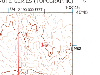 Reduced fragment of topographic map en--usgs--024k--025086--(1956)--N045-45-00_W108-52-30--N045-37-30_W108-45-00; towns and cities Laurel
