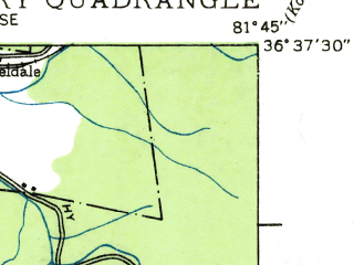 Reduced fragment of topographic map en--usgs--024k--025094--(1935)--N036-37-30_W081-52-30--N036-30-00_W081-45-00