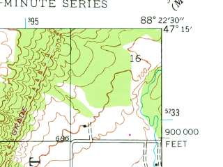 Reduced fragment of topographic map en--usgs--024k--025112--(1946)--N047-15-00_W088-30-00--N047-07-30_W088-22-30; towns and cities Calumet, Hubbell, Lake Linden