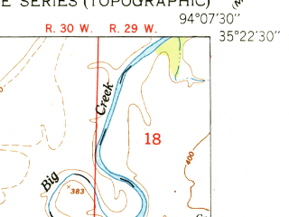 Reduced fragment of topographic map en--usgs--024k--025121--(1951)--N035-22-30_W094-15-00--N035-15-00_W094-07-30; towns and cities Central City, Lavaca