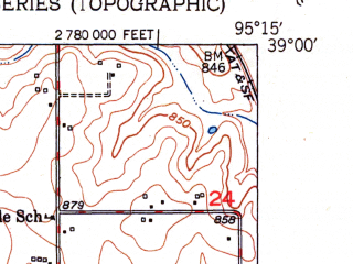 Reduced fragment of topographic map en--usgs--024k--025153--(1951)--N039-00-00_W095-22-30--N038-52-30_W095-15-00; towns and cities Lawrence