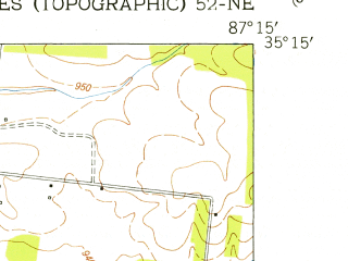 Reduced fragment of topographic map en--usgs--024k--025154--(1951)--N035-15-00_W087-22-30--N035-07-30_W087-15-00; towns and cities Lawrenceburg
