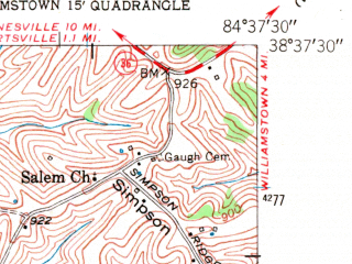 Reduced fragment of topographic map en--usgs--024k--025157--(1950)--N038-37-30_W084-45-00--N038-30-00_W084-37-30