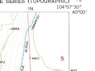 Reduced fragment of topographic map en--usgs--024k--025220--(1951)--N040-00-00_W104-15-00--N039-52-30_W104-07-30