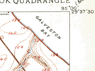 Reduced fragment of topographic map en--usgs--024k--025229--(1916)--N029-37-30_W095-07-30--N029-30-00_W095-00-00; towns and cities Seabrook, Clear Lake Shores, El Lago, Kemah