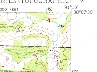Reduced fragment of topographic map en--usgs--024k--025247--(1948)--N038-07-30_W091-22-30--N038-00-00_W091-15-00; towns and cities Leasburg