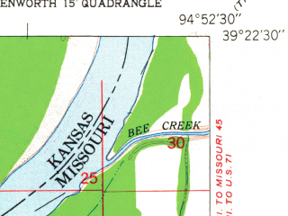 Reduced fragment of topographic map en--usgs--024k--025252--(1951)--N039-22-30_W095-00-00--N039-15-00_W094-52-30; towns and cities Leavenworth