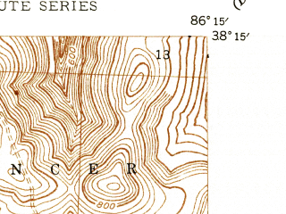 Reduced fragment of topographic map en--usgs--024k--025253--(1946)--N038-15-00_W086-22-30--N038-07-30_W086-15-00; towns and cities Leavenworth, Carefree