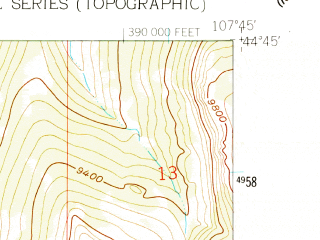 Reduced fragment of topographic map en--usgs--024k--025256--(1960)--N044-45-00_W107-52-30--N044-37-30_W107-45-00