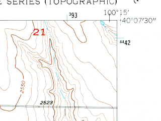 Reduced fragment of topographic map en--usgs--024k--025268--(1957)--N040-07-30_W100-22-30--N040-00-00_W100-15-00; towns and cities Lebanon