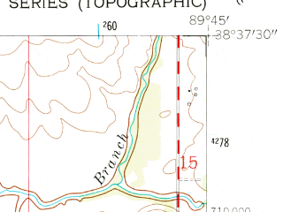 Reduced fragment of topographic map en--usgs--024k--025271--(1954)--N038-37-30_W089-52-30--N038-30-00_W089-45-00; towns and cities Mascoutah, Scott Afb, Lebanon