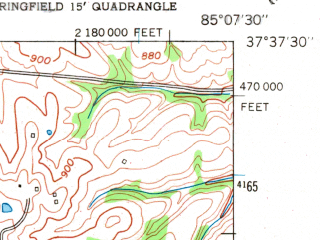 Reduced fragment of topographic map en--usgs--024k--025272--(1953)--N037-37-30_W085-15-00--N037-30-00_W085-07-30