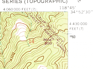 Reduced fragment of topographic map en--usgs--024k--025276--(1958)--N034-52-30_W118-52-30--N034-45-00_W118-45-00 in area of Castac Lake