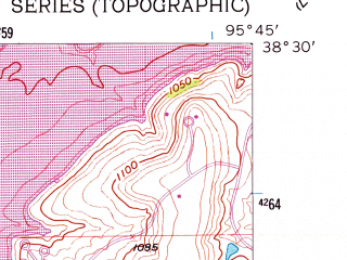 Reduced fragment of topographic map en--usgs--024k--025277--(1957)--N038-30-00_W095-52-30--N038-22-30_W095-45-00; towns and cities Lebo, Olivet