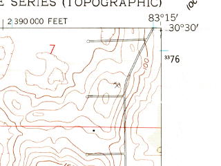 Reduced fragment of topographic map en--usgs--024k--025295--(1958)--N030-30-00_W083-22-30--N030-22-30_W083-15-00; towns and cities Lee