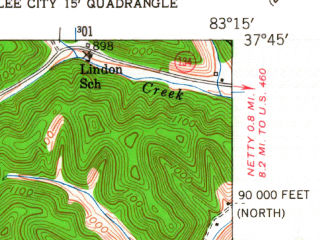 Reduced fragment of topographic map en--usgs--024k--025298--(1951)--N037-45-00_W083-22-30--N037-37-30_W083-15-00