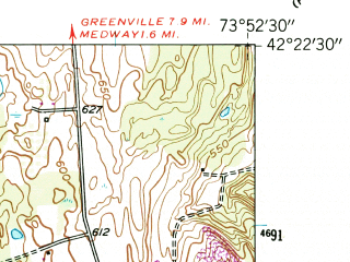 Reduced fragment of topographic map en--usgs--024k--025312--(1953)--N042-22-30_W074-00-00--N042-15-00_W073-52-30