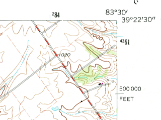 Reduced fragment of topographic map en--usgs--024k--025326--(1960)--N039-22-30_W083-37-30--N039-15-00_W083-30-00; towns and cities Highland, Leesburg