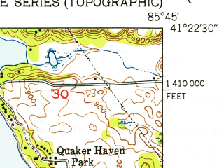 Reduced fragment of topographic map en--usgs--024k--025328--(1950)--N041-22-30_W085-52-30--N041-15-00_W085-45-00; towns and cities Leesburg