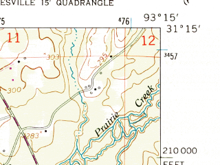 Reduced fragment of topographic map en--usgs--024k--025342--(1954)--N031-15-00_W093-22-30--N031-07-30_W093-15-00; towns and cities Leesville
