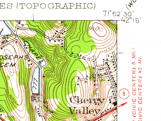 Reduced fragment of topographic map en--usgs--024k--025377--(1953)--N042-15-00_W072-00-00--N042-07-30_W071-52-30; towns and cities Spencer