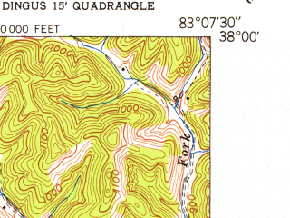 Reduced fragment of topographic map en--usgs--024k--025436--(1950)--N038-00-00_W083-15-00--N037-52-30_W083-07-30