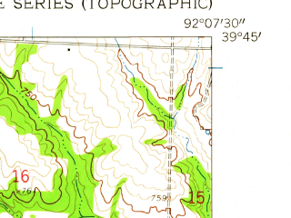Reduced fragment of topographic map en--usgs--024k--025438--(1958)--N039-45-00_W092-15-00--N039-37-30_W092-07-30