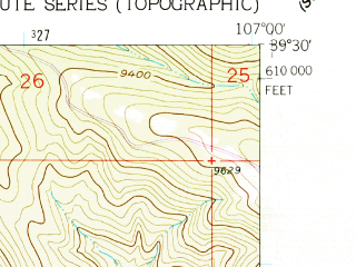 Reduced fragment of topographic map en--usgs--024k--025450--(1961)--N039-30-00_W107-07-30--N039-22-30_W107-00-00; towns and cities El Jebel