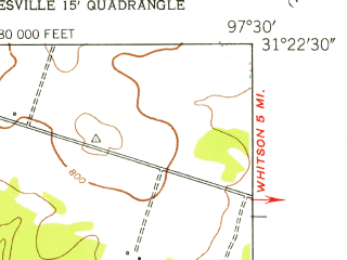 Reduced fragment of topographic map en--usgs--024k--025452--(1947)--N031-22-30_W097-37-30--N031-15-00_W097-30-00