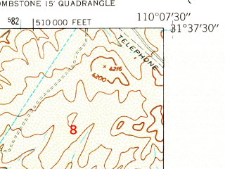 Reduced fragment of topographic map en--usgs--024k--025553--(1952)--N031-37-30_W110-15-00--N031-30-00_W110-07-30