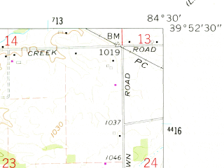 Reduced fragment of topographic map en--usgs--024k--025557--(1961)--N039-52-30_W084-37-30--N039-45-00_W084-30-00; towns and cities Lewisburg
