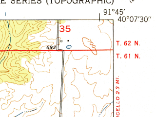 Reduced fragment of topographic map en--usgs--024k--025575--(1951)--N040-07-30_W091-52-30--N040-00-00_W091-45-00; towns and cities Lewistown