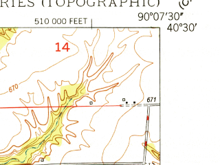 Reduced fragment of topographic map en--usgs--024k--025577--(1948)--N040-30-00_W090-15-00--N040-22-30_W090-07-30; towns and cities Cuba, Lewistown