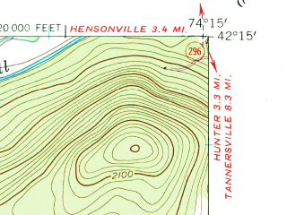Reduced fragment of topographic map en--usgs--024k--025591--(1960)--N042-15-00_W074-22-30--N042-07-30_W074-15-00