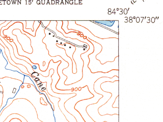 Reduced fragment of topographic map en--usgs--024k--025603--(1950)--N038-07-30_W084-37-30--N038-00-00_W084-30-00; towns and cities Lexington