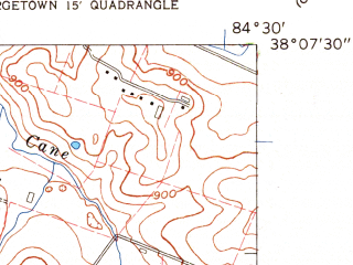 Reduced fragment of topographic map en--usgs--024k--025603--(1959)--N038-07-30_W084-37-30--N038-00-00_W084-30-00; towns and cities Lexington