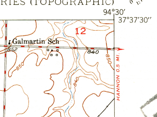 Reduced fragment of topographic map en--usgs--024k--025609--(1948)--N037-37-30_W094-37-30--N037-30-00_W094-30-00; towns and cities Burgess, Liberal, Mulberry