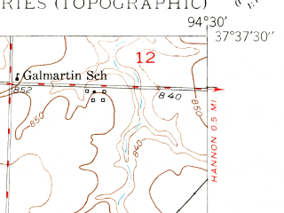 Reduced fragment of topographic map en--usgs--024k--025609--(1950)--N037-37-30_W094-37-30--N037-30-00_W094-30-00; towns and cities Burgess, Liberal, Mulberry