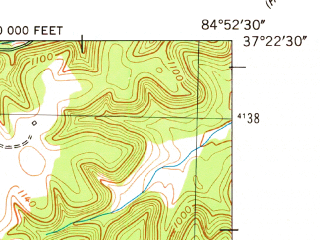 Reduced fragment of topographic map en--usgs--024k--025613--(1952)--N037-22-30_W085-00-00--N037-15-00_W084-52-30; towns and cities Liberty