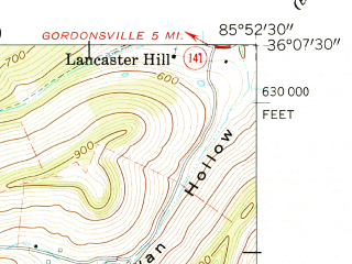 Reduced fragment of topographic map en--usgs--024k--025616--(1962)--N036-07-30_W086-00-00--N036-00-00_W085-52-30; towns and cities Dowelltown, Liberty