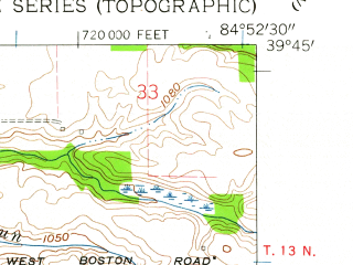 Reduced fragment of topographic map en--usgs--024k--025619--(1960)--N039-45-00_W085-00-00--N039-37-30_W084-52-30; towns and cities Liberty