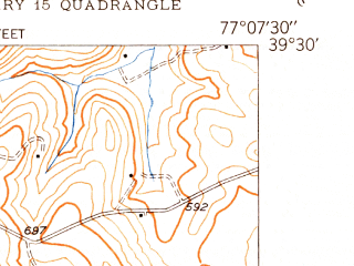 Reduced fragment of topographic map en--usgs--024k--025639--(1950)--N039-30-00_W077-15-00--N039-22-30_W077-07-30