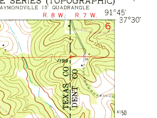 Reduced fragment of topographic map en--usgs--024k--025649--(1951)--N037-30-00_W091-52-30--N037-22-30_W091-45-00; towns and cities Licking