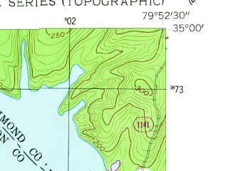 Reduced fragment of topographic map en--usgs--024k--025678--(1956)--N035-00-00_W080-00-00--N034-52-30_W079-52-30; towns and cities Lilesville